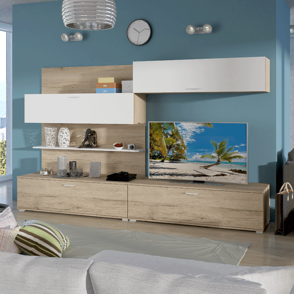 Variálható nappali fal, san remo/fehér, SAIRA