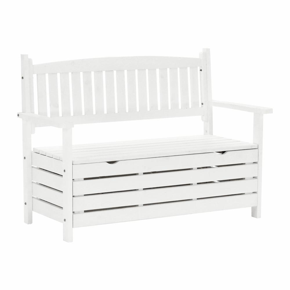 Záhradná lavička, biela, 124cm, DILKA