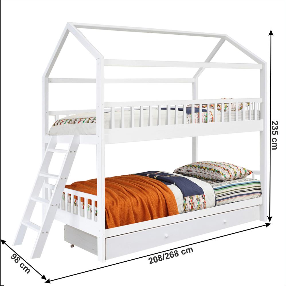 Patrová postel, bílá, 90x200, EVALIA