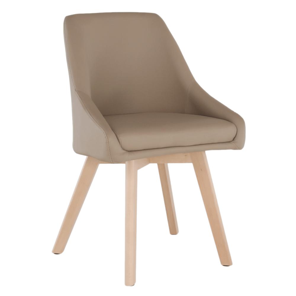 Jedálenská stolička, béžová ekokoža/buk, TEZA