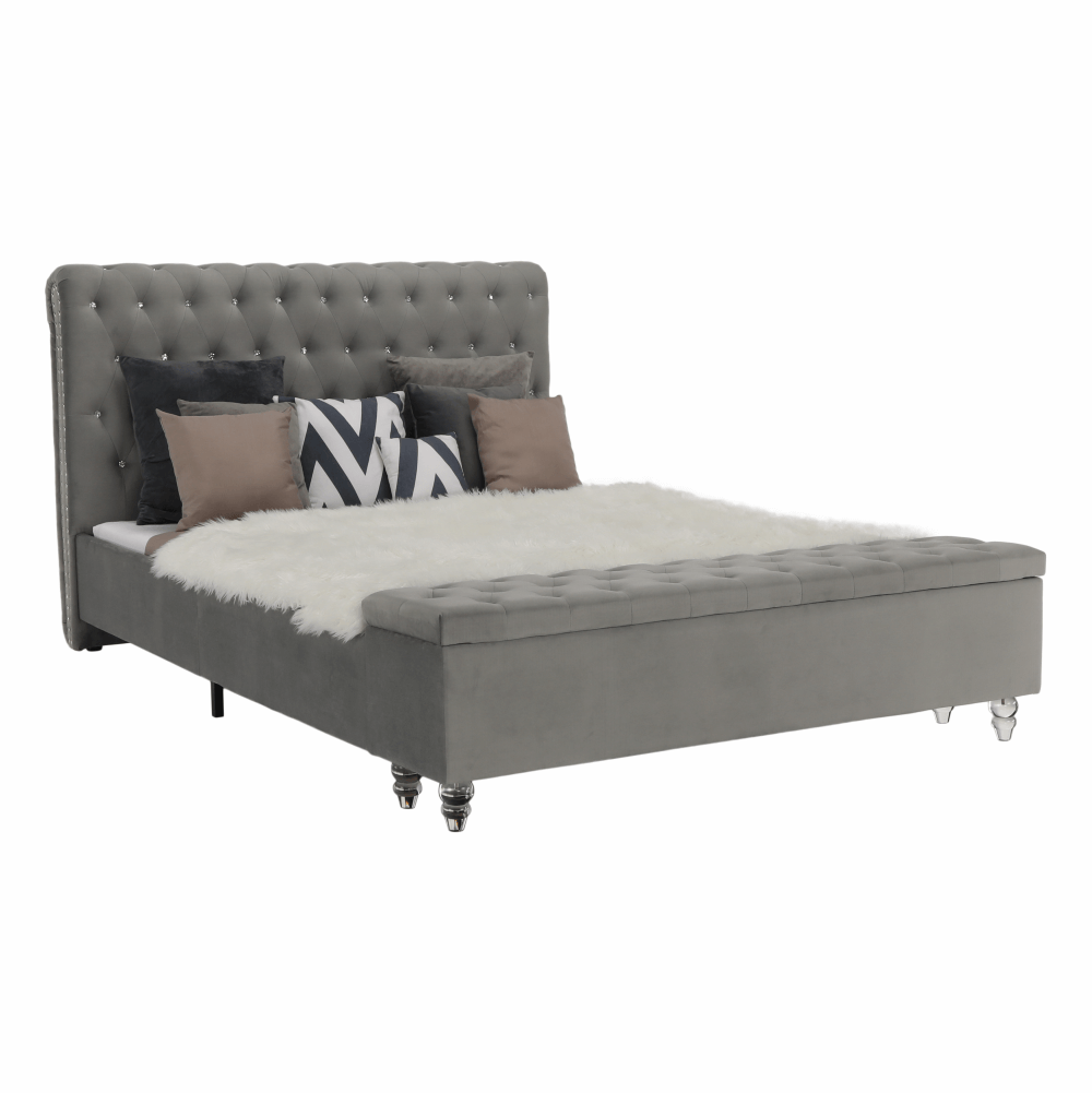 Postel s lavicí, šedá látka Velvet, 180x200, ANGALA