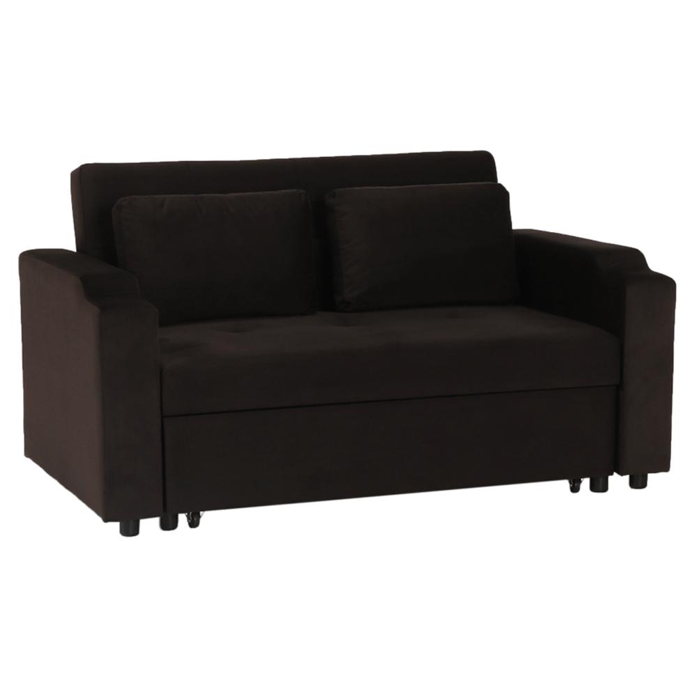Széthúzhatós kanapé, barna Velvet anyag, ZAMBA