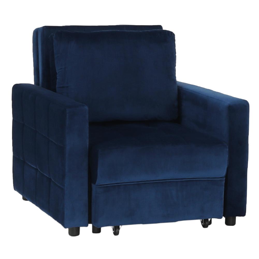 Fotoliu extensibil, catifea Velvet albastru regal, PECHRO
