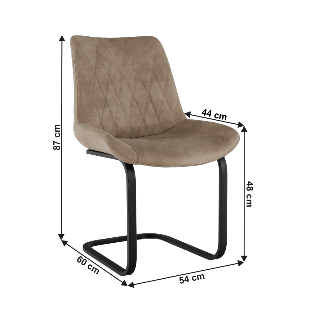Jídelní židle, světlehnědá látka s efektem broušené kůže, DENTA