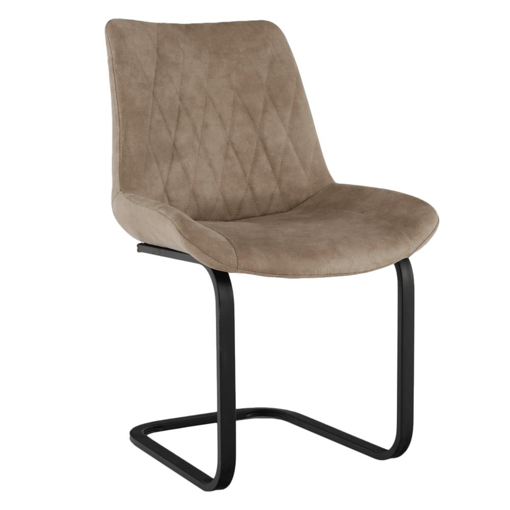 Jedálenská stolička, svetlohnedá látka s efektom brúsenej kože, DENTA