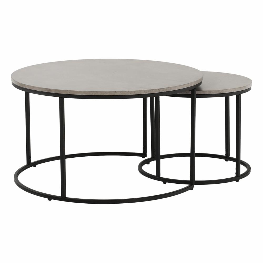 Konferenčné stolíky, set 2 ks, betón/čierna, IKLIN