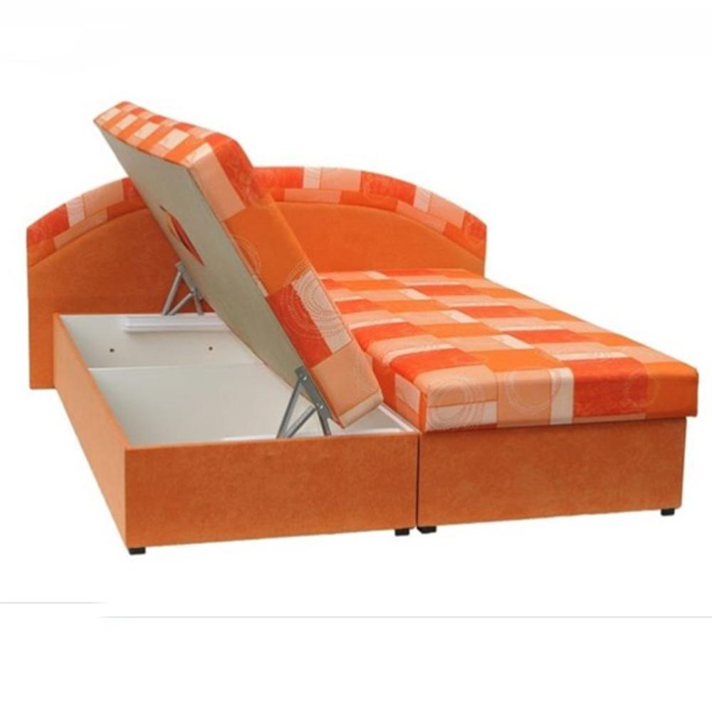 Dupla ágy, rugós, narancssárga/minta, KASVO