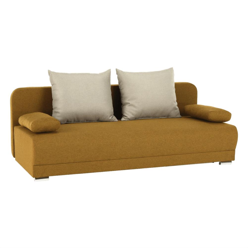 Széthúzhatós kanapé, mustár/bézs, ZACA