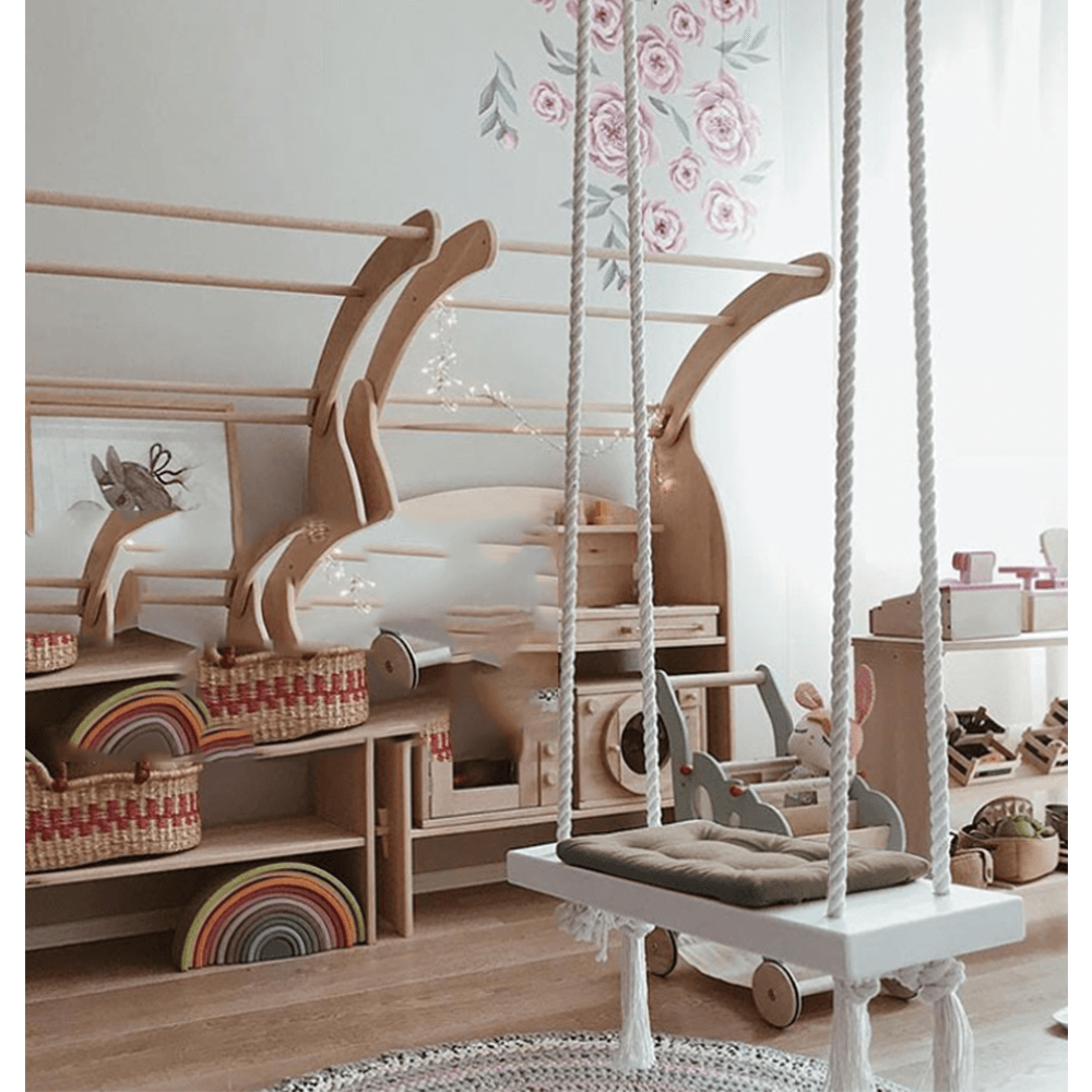 Hojdačka pre deti, biela/sivá, SVING