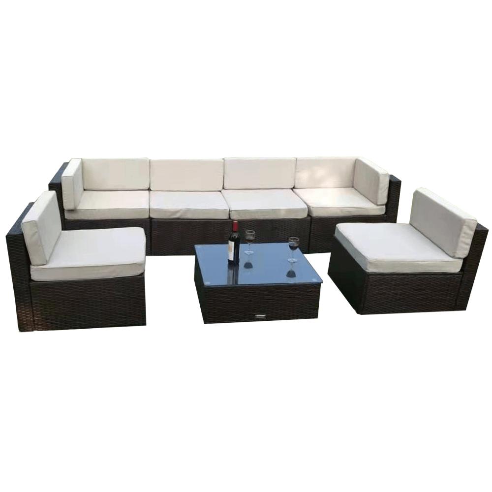 Záhradný 7-dielny ratanový set, čierna/smotanová, MODESTO