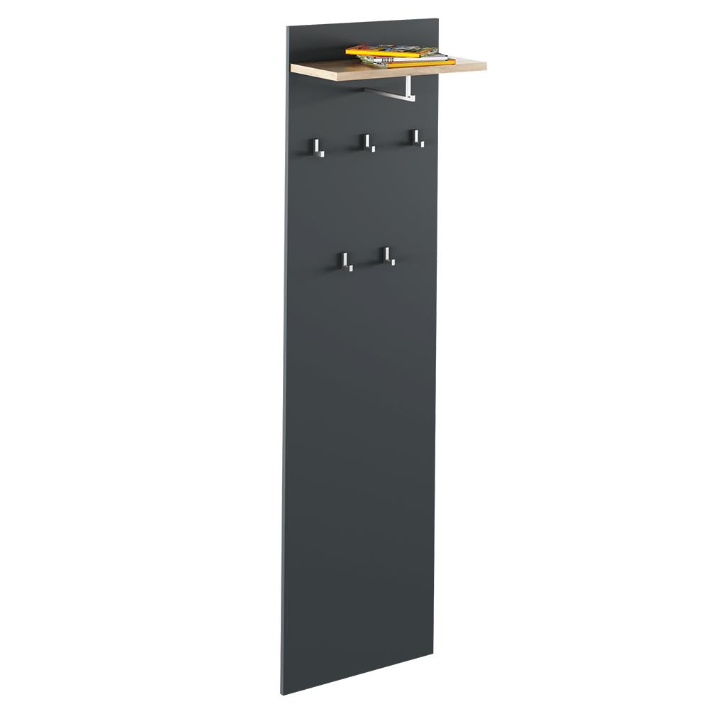 Vešiakový panel, grafit/dub artisan, RIOMA NEW  TYP 19
