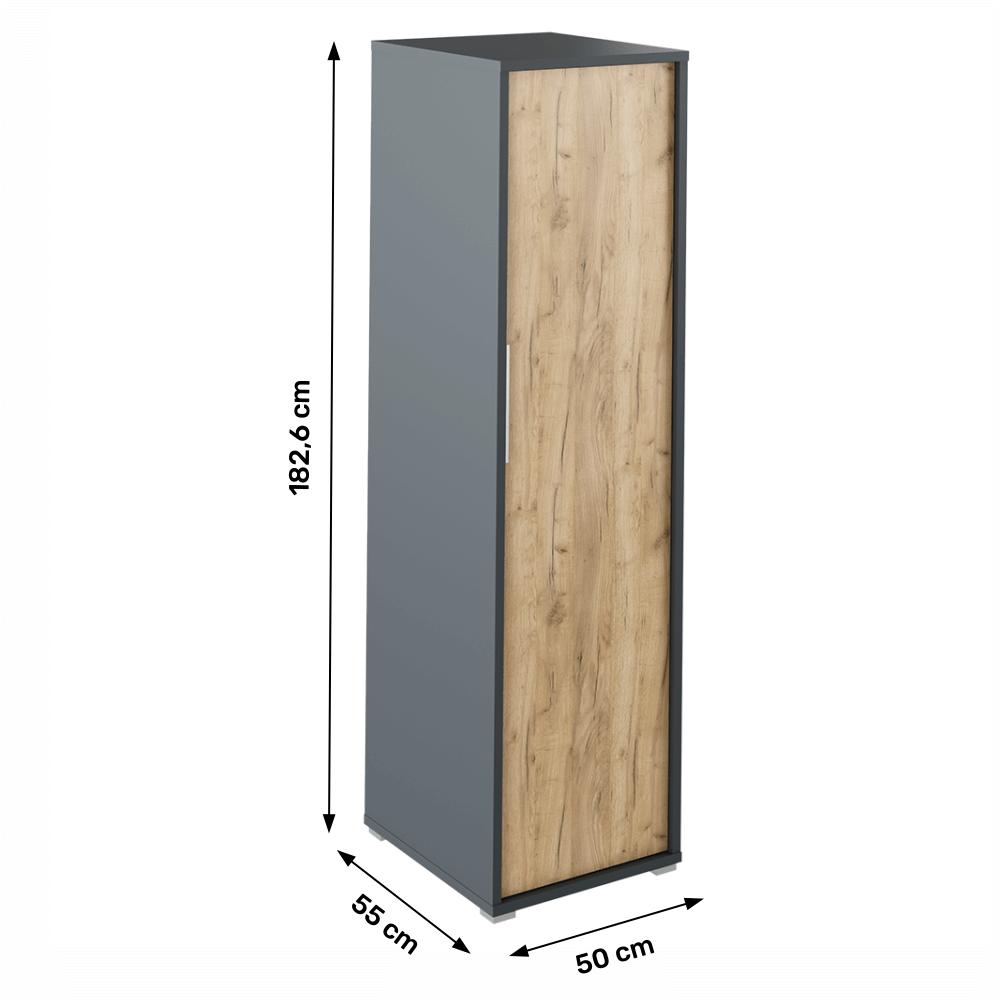 Věšáková skříň, grafit / dub artisan, RIOMA NEW TYP 20