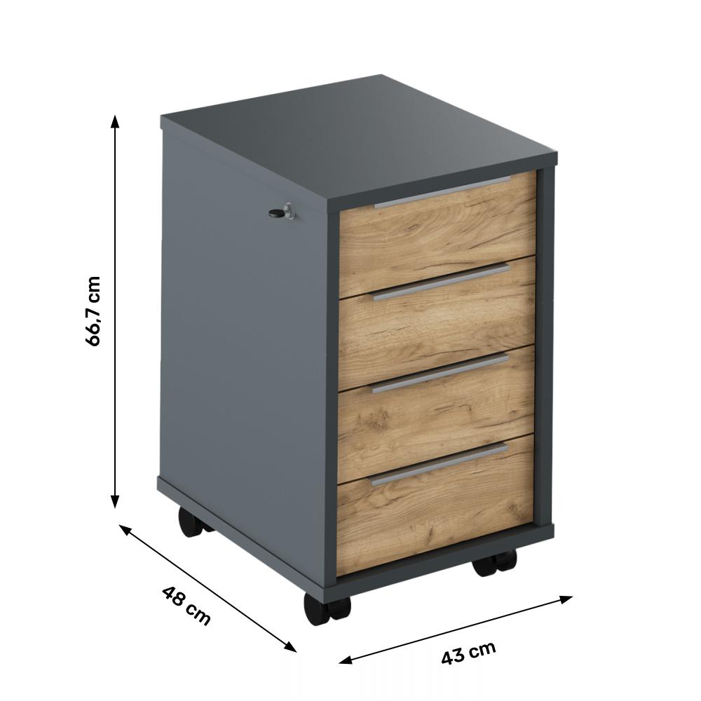 Kontejner se zámkem, grafit / dub artisan, RIOMA NEW TYP 30