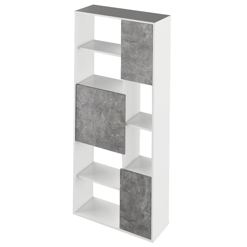 Regál, bílá/ beton, ULIMI, TEMPO KONDELA