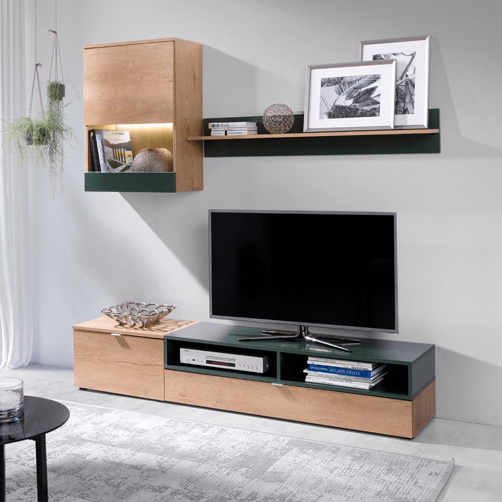 Obývacia stena, dub lefkas/zelená, ROSO