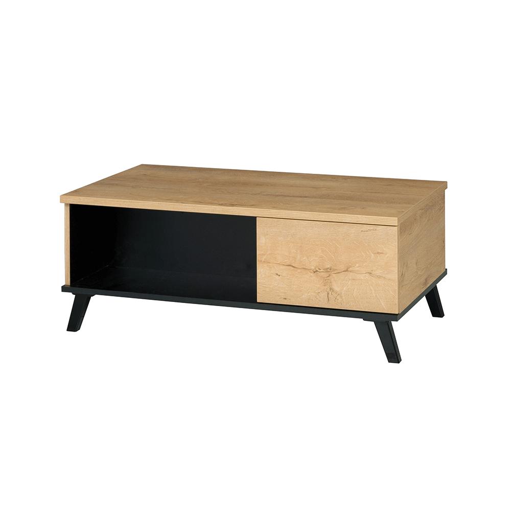 Konferenční stolek, dub lefkas/černá, SIRAN TYP 8