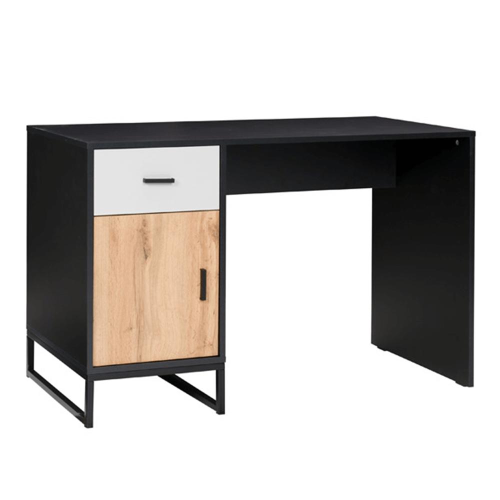 PC stôl, čierna/dub wotan/sivá, MARLEY TYP 7