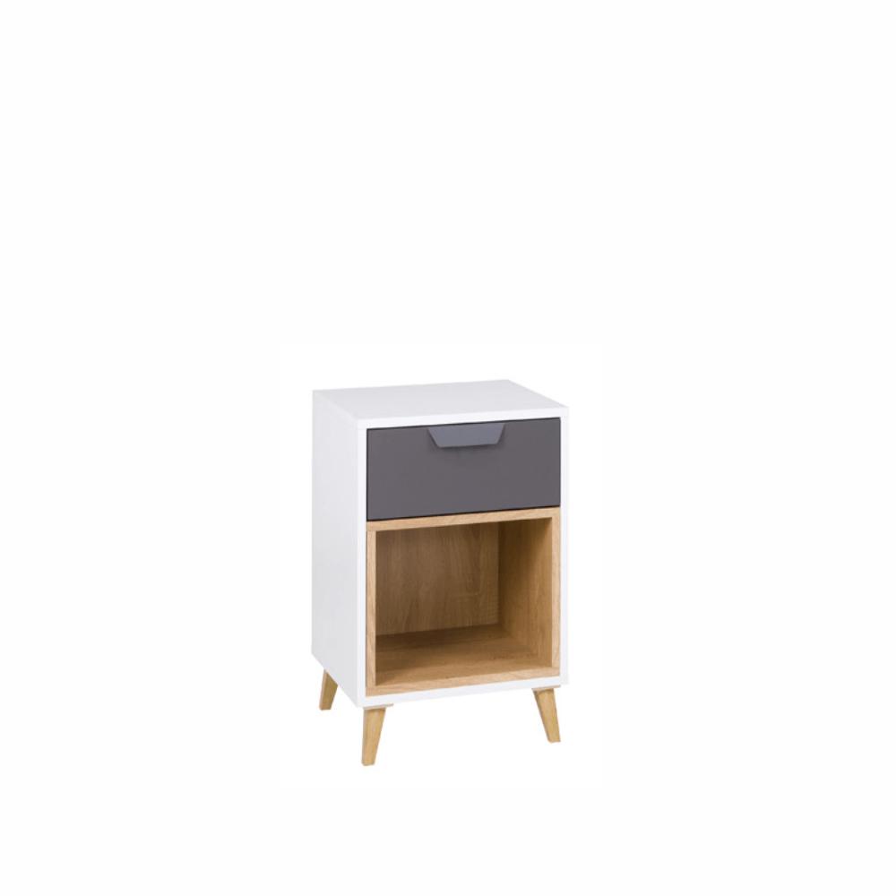 Nočný stolík, biela/grafit/dub lefkas, SINDRA TYP 11