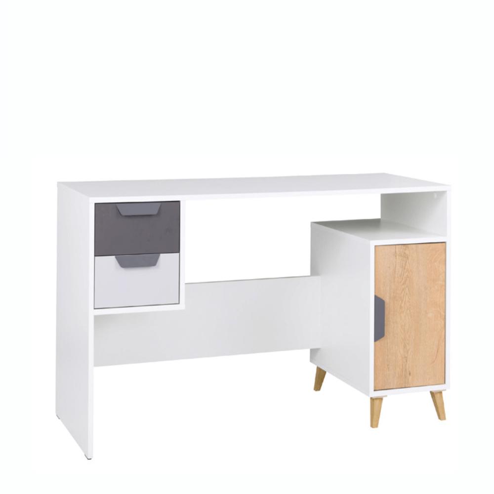 PC stôl, biela/grafit/dub lefkas, SINDRA TYP 13