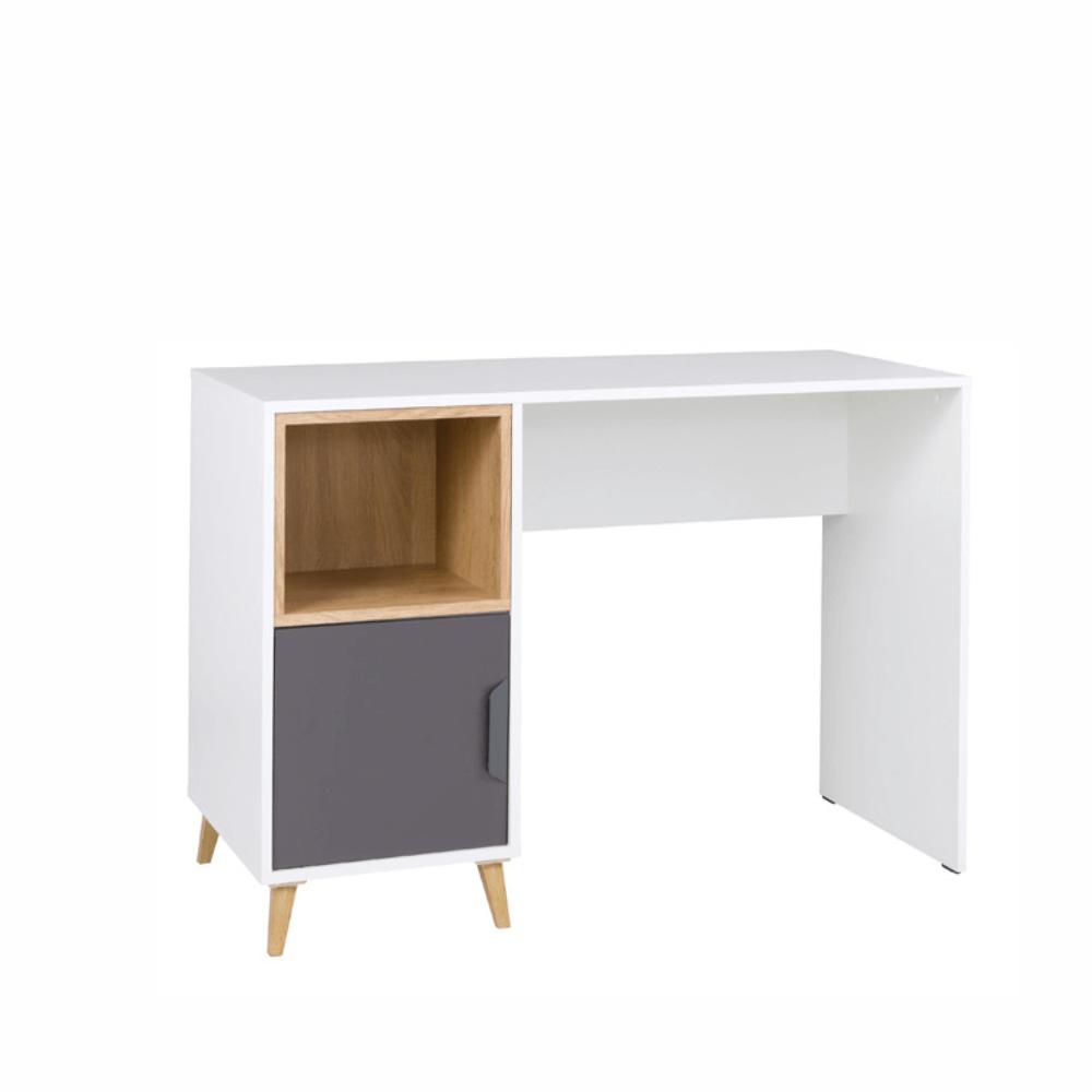 PC stôl, biela/grafit/dub lefkas, SINDRA TYP 14