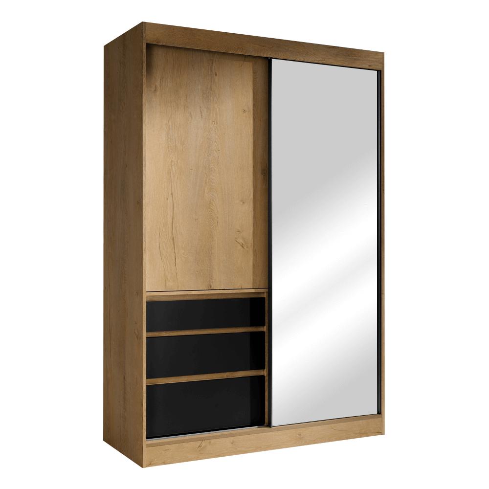 Skriňa s posúvacími dverami, dub lefkas/čierna, 140, ROMUALDA