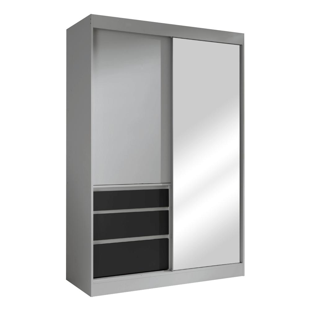 Skříň s posuvnými dveřmi, šedá/černá, 140, ROMUALDA, TEMPO KONDELA