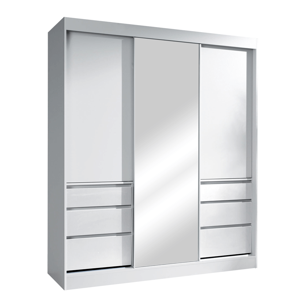 Skriňa s posúvacími dverami, biela, 180, ROMUALDA