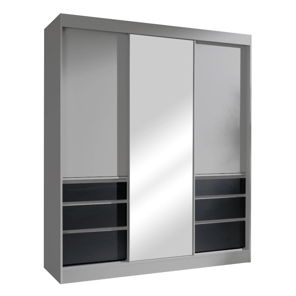 Skříň s posuvnými dveřmi, šedá/černá, 180, ROMUALDA, TEMPO KONDELA