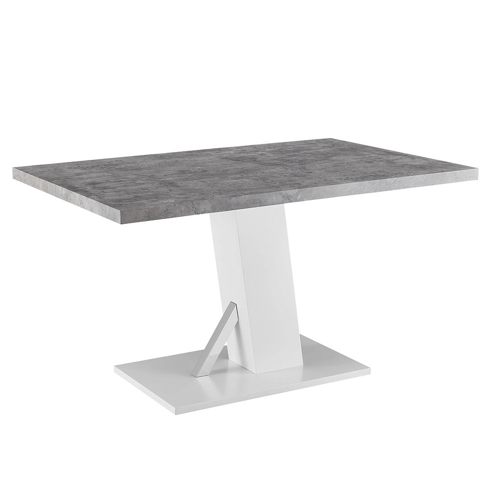 Masă dining, beton/alb extra lucios HG, 138, BOLAST