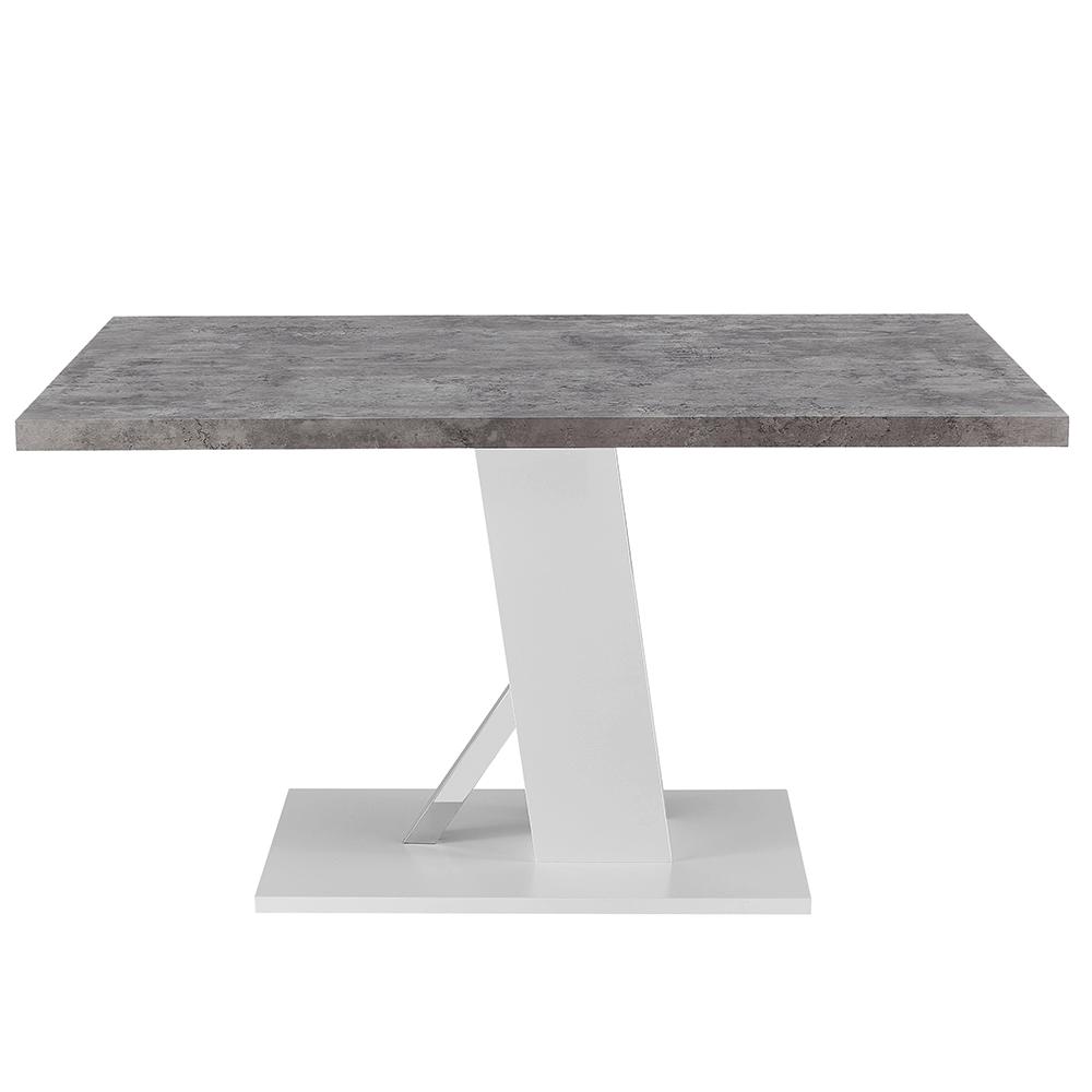 Jídelní stůl, beton / bílá extra vysoký lesk, BOLAST