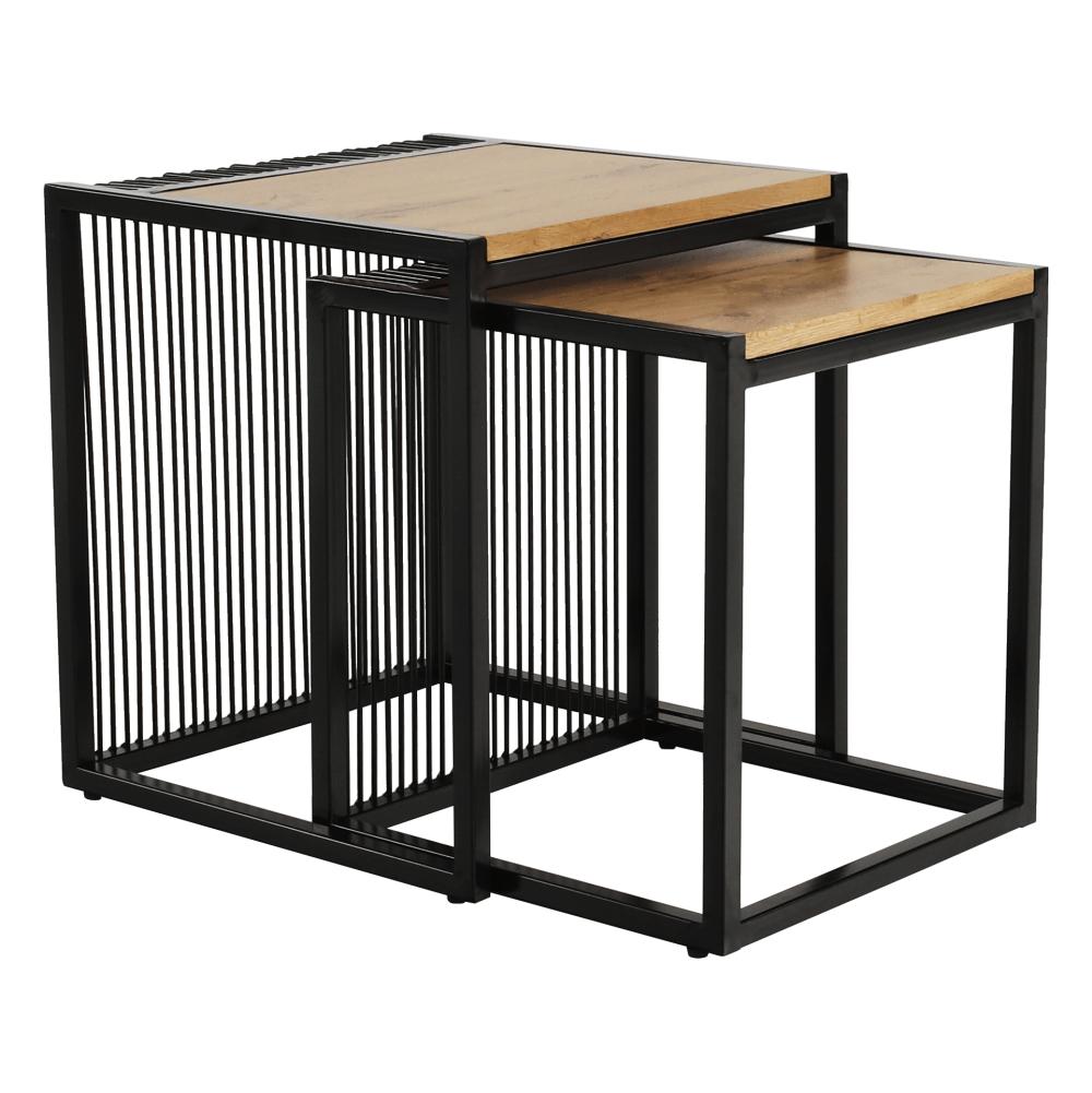 Set dvou konferenčních stolků, dub/černý, RIMBO, TEMPO KONDELA