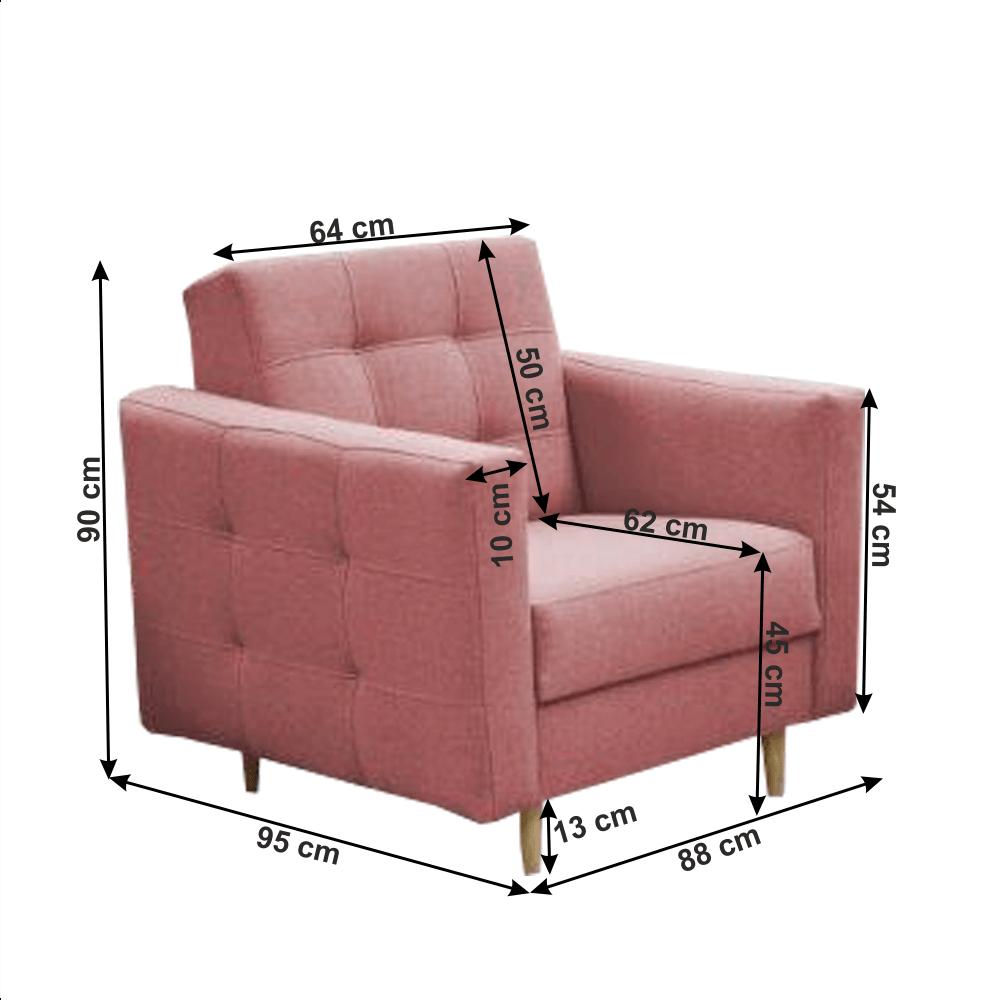 Set canapea extensibila si 2 fotolii Amedia Roz