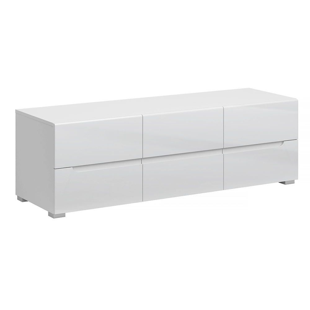 Măsuţă RTV 6S / 140, alb / alb cu luciu extra ridicat HG, JOLK