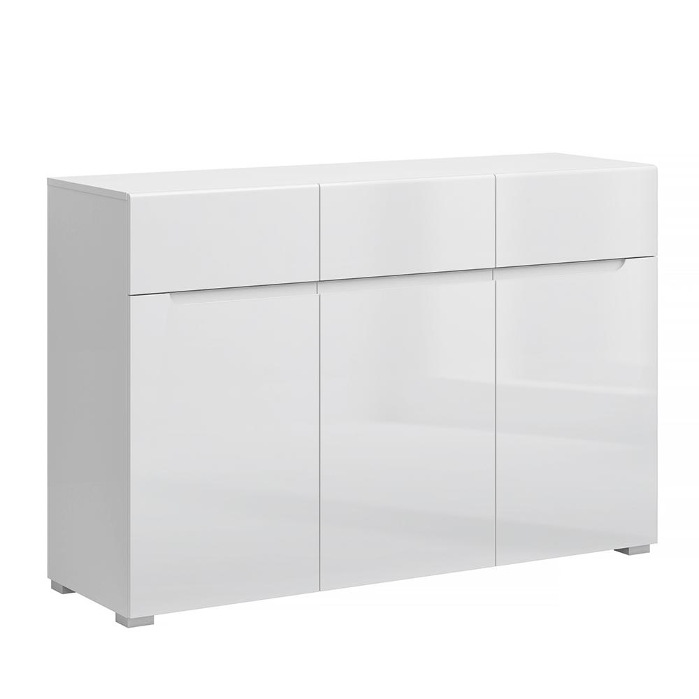 Komoda 3D3S, biela/biely extra vysoký lesk HG, JOLK