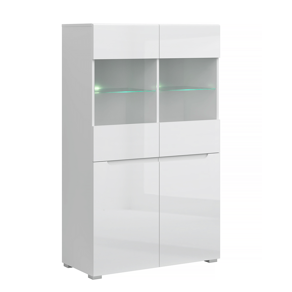 Vitrină 2D2W, alb / alb cu luciu extra ridicat HG, JOLK