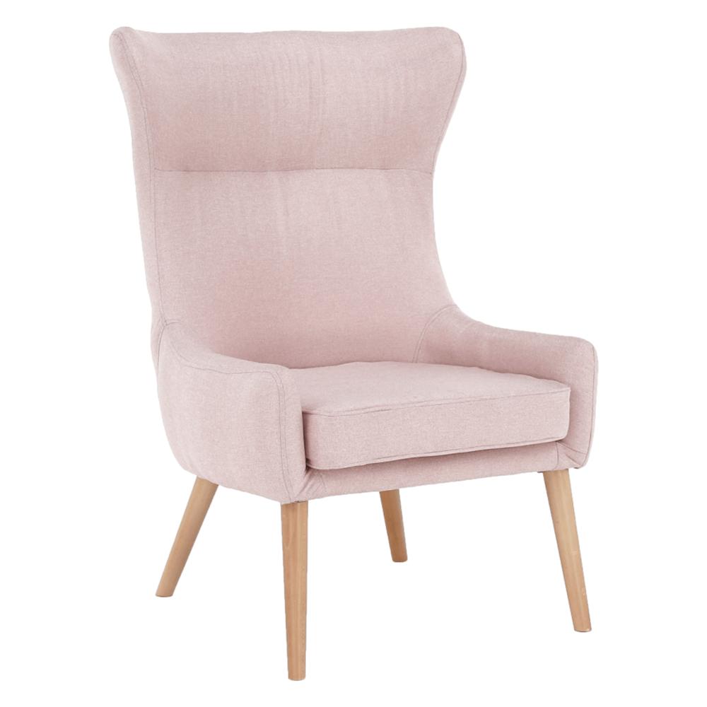 Füles fotel, rózsaszín/bükkfa, FADOR