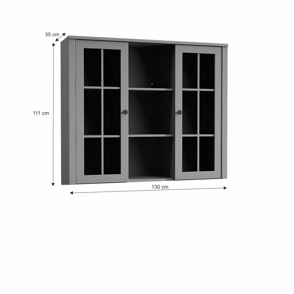 Nástavec na komodu W2D, vitrína, šedá, Provance