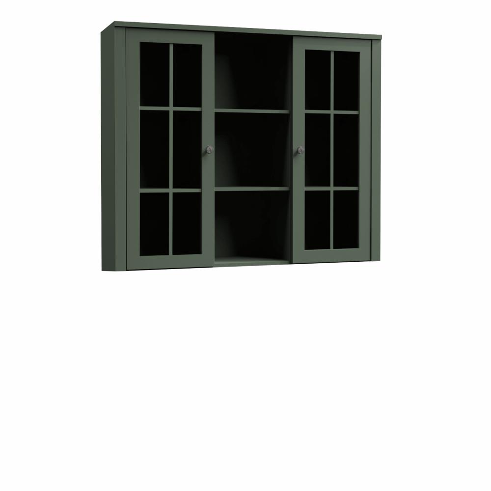 Komód ráépítés W2D, vitrin, zöld, PROVANCE