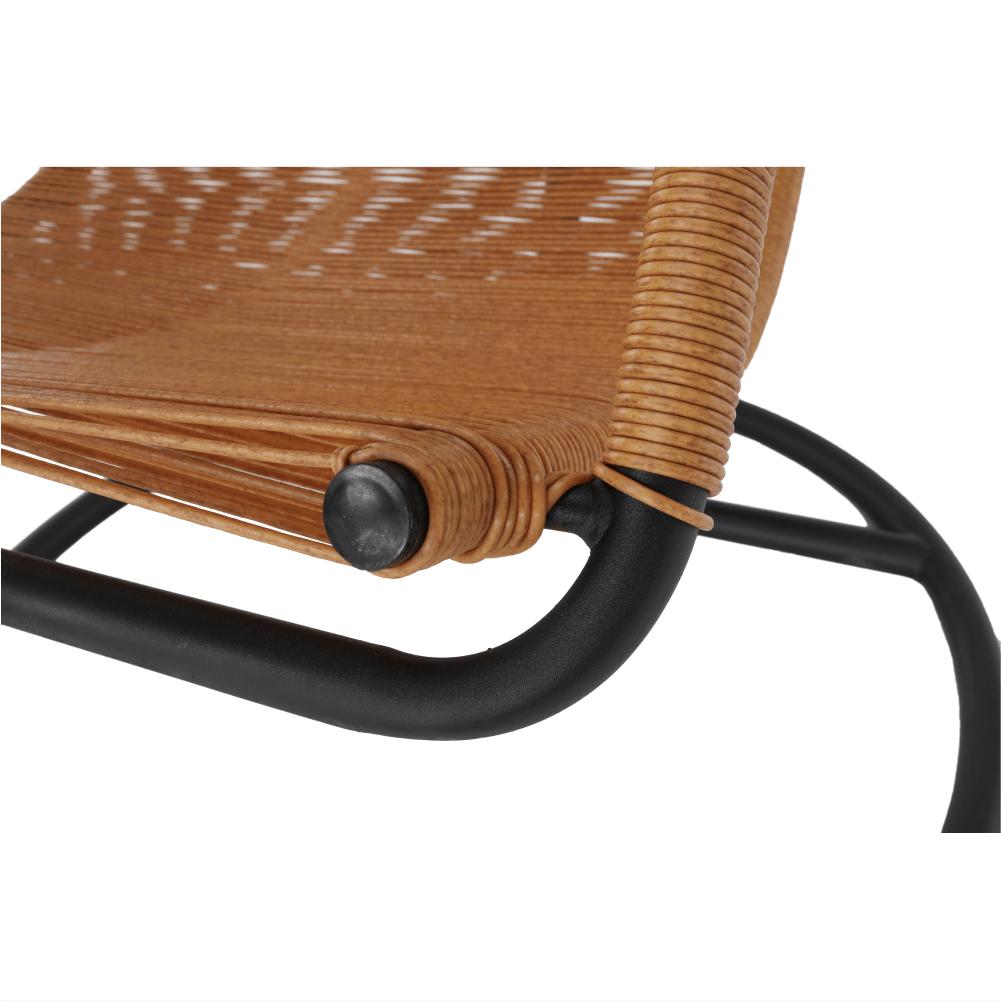 Scaun suspendabil din metal si rattan Bungy Negru/Maro