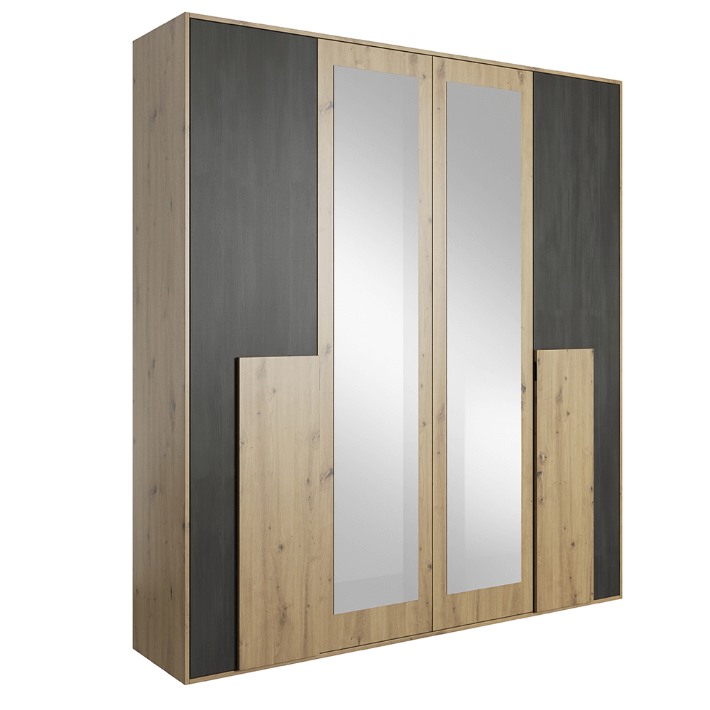 Skriňa so zrkadlom 2D, dub artisan/čierna borovica nórska, BAFRA