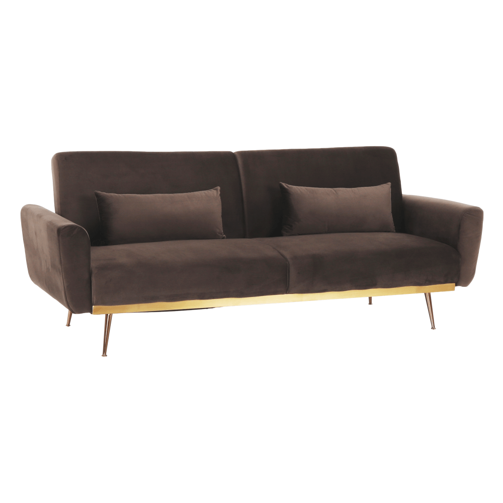 Canapea extensibilă, material textil Velvet maro, FASTA