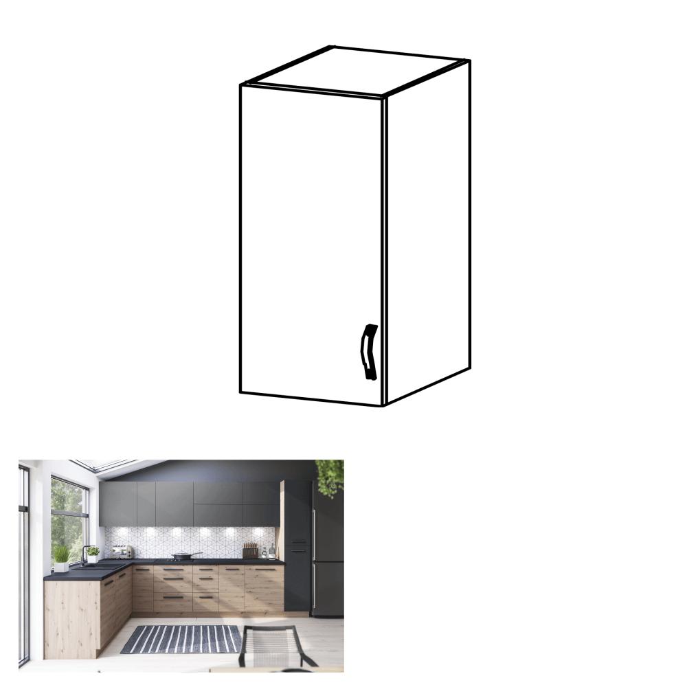 Horní skříňka, dub artisan/šedý mat, levá, LANGEN G40