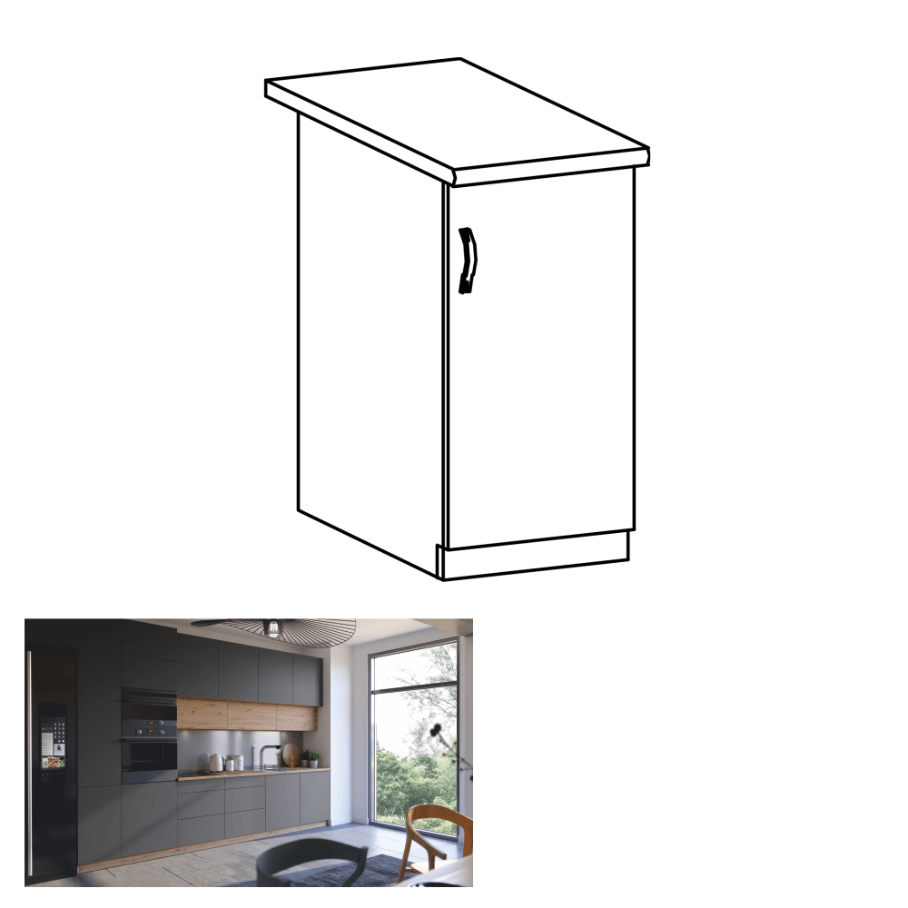 Spodná skrinka, dub artisan/sivý mat, pravá, LANGEN D40