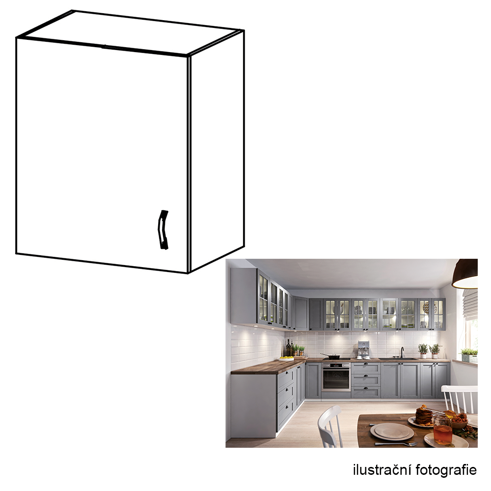 Horní skříňka, bílá / šedá matná, levá, LAYLA G601F