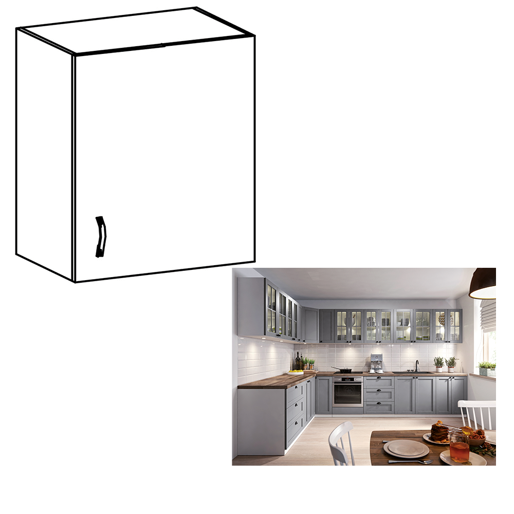 Horná skrinka, biela/sivá matná, pravá, LAYLA G601F