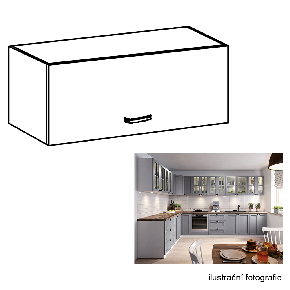 Horní skříňka, bílá / šedá matná, LAYLA G80K