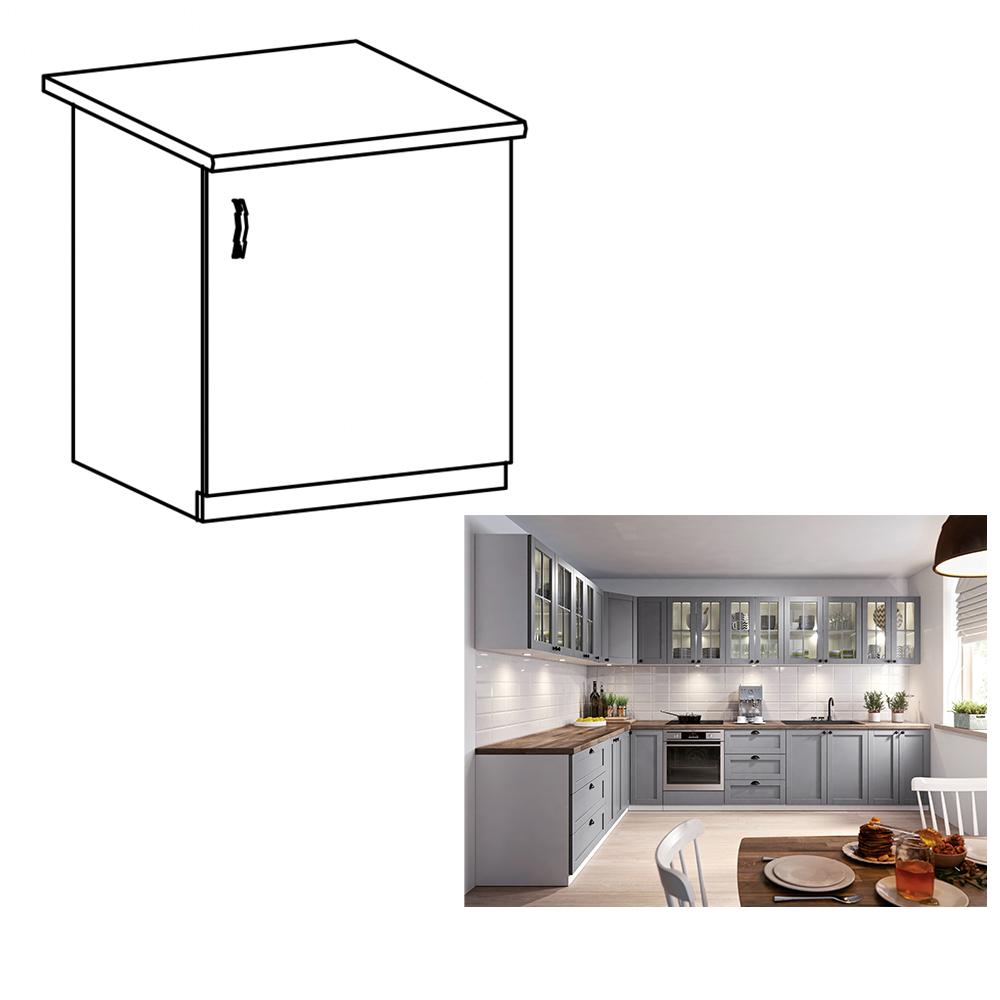 Spodná skrinka, sivá matná/biela, pravá, LAYLA D601F
