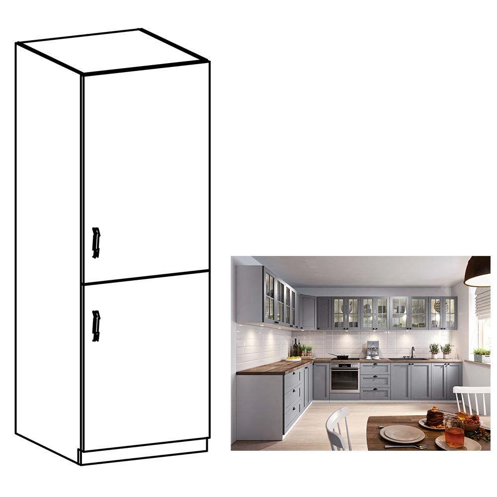 Skrinka na vstavanú chladničku, sivá matná/biela, pravá, LAYLA D60ZL