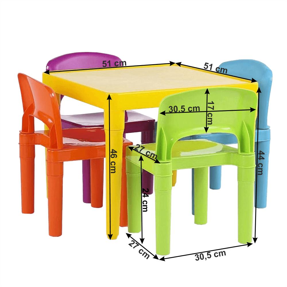 Set masa si 4 scaune din plastic Zilbo
