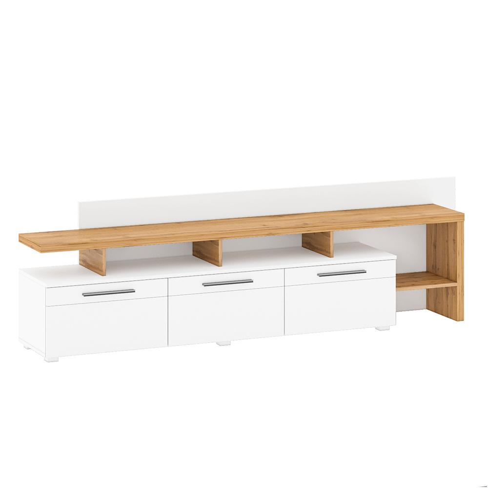 RTV stolík s panelom, dub wotan/biela extra vysoký lesk HG, KELEN B+C
